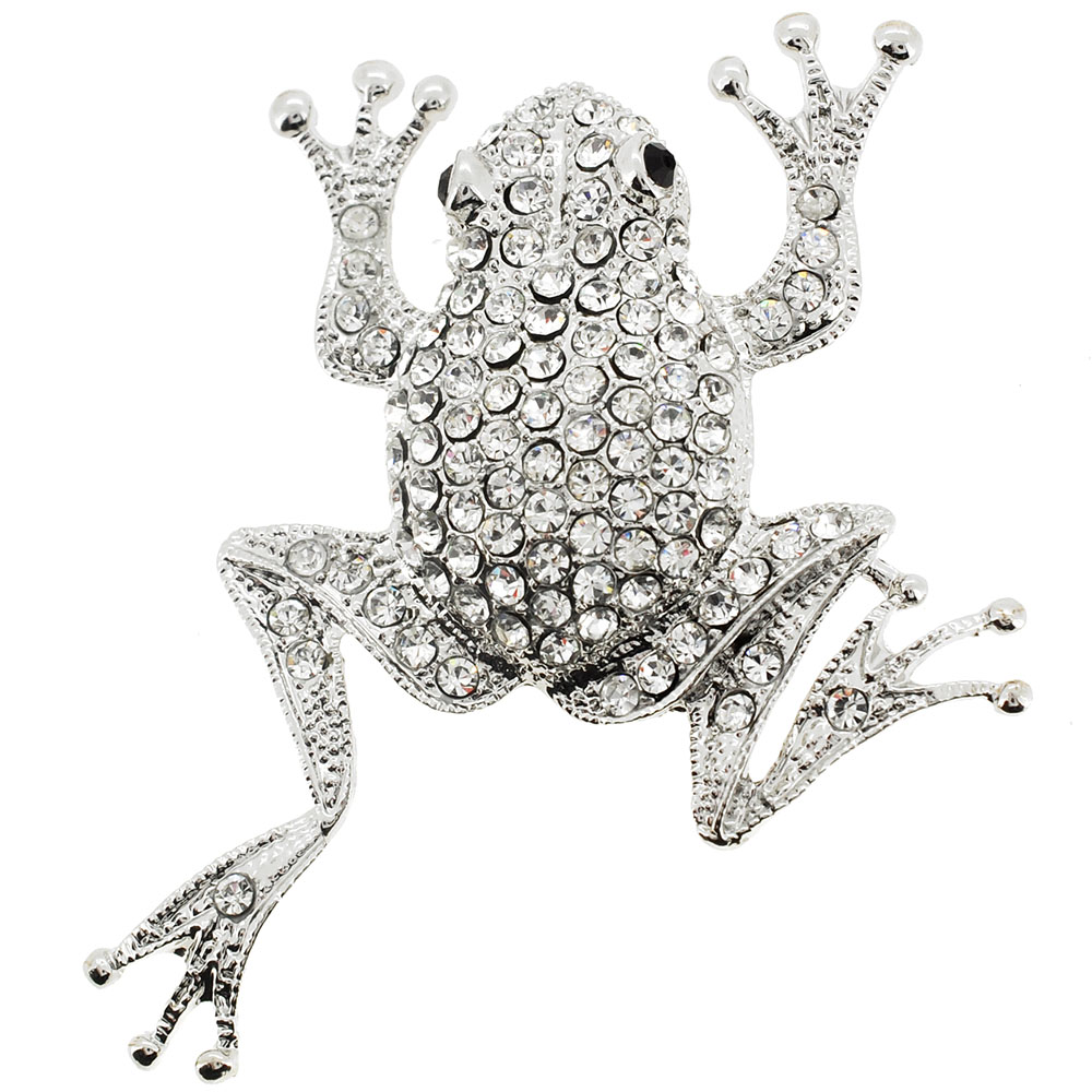 Silver Chrome Frog Crystal Pin Brooch by