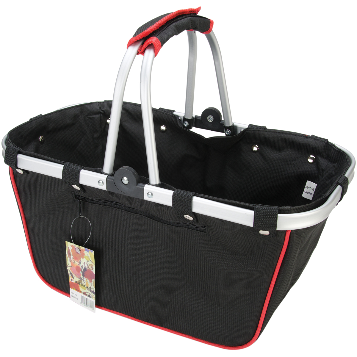 "JanetBasket Black/Red Large Aluminum Frame Basket, 18"" x 10"" x 9.5"""