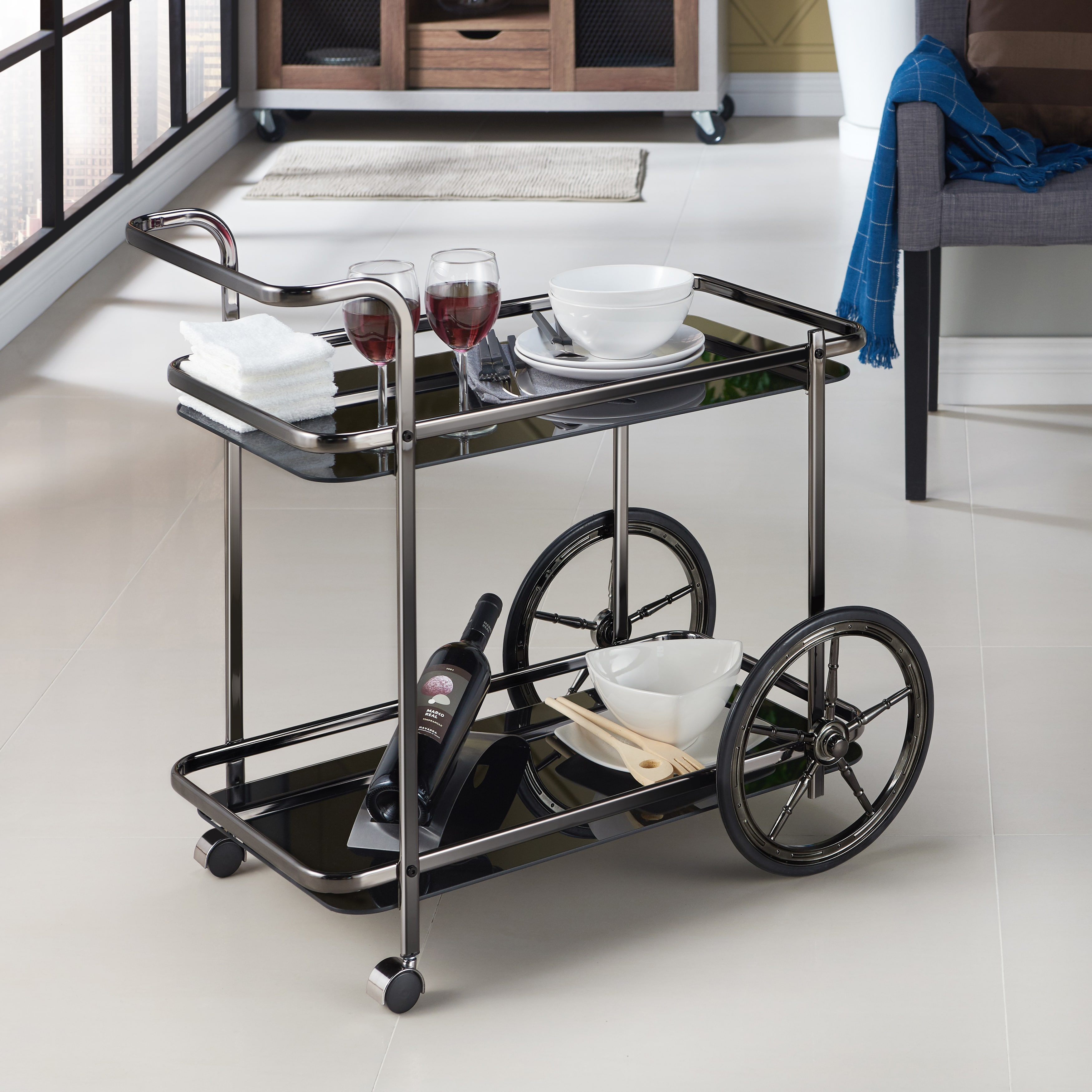 Furniture of America  Agor Contemporary Black Kitchen Cart
