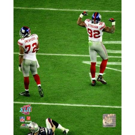 Osi Umenyiora   Michael Strahan Super Bowl Xlii Action Photo Print