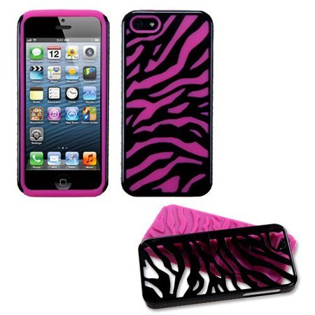 Black Zebra Hot Pink Fusion Dual Layer Apple iPhone 5 Hybrid Faceplate Cover Case Soft Rubber Protector Skin Hard Cover Case fits Sprint, Verizon, AT&T Wireless