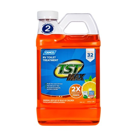 Camco 41195 TST MAX Strength Orange Scent RV Toilet Treatment, Formaldehyde Free, Breaks Down Waste And Tissue, Septic Tank Safe, Treats up to 16-40 Gallon Holding Tanks (64