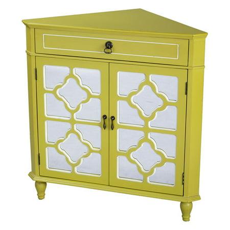 Heather Ann Creations Frasera Quatrefoil Mirror Corner Cabinet