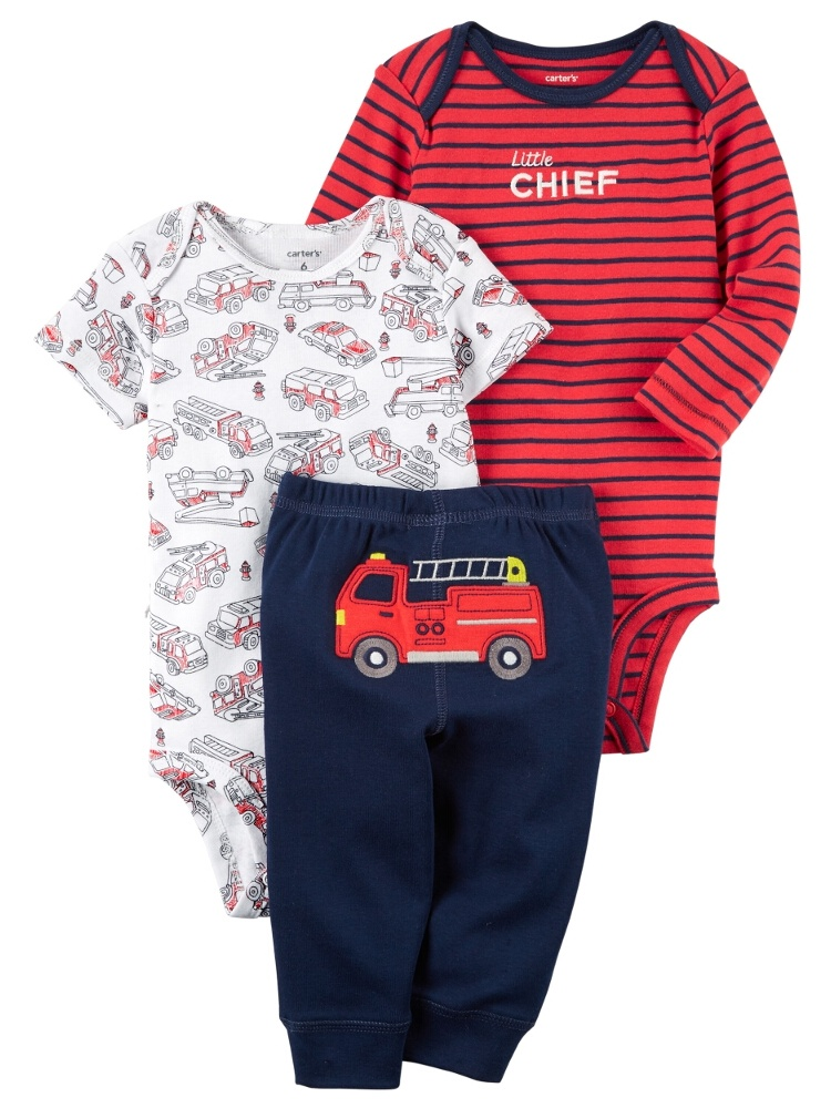 Carters Baby Boys 3-Piece Little Character Set Little Chief Firetruck Red
