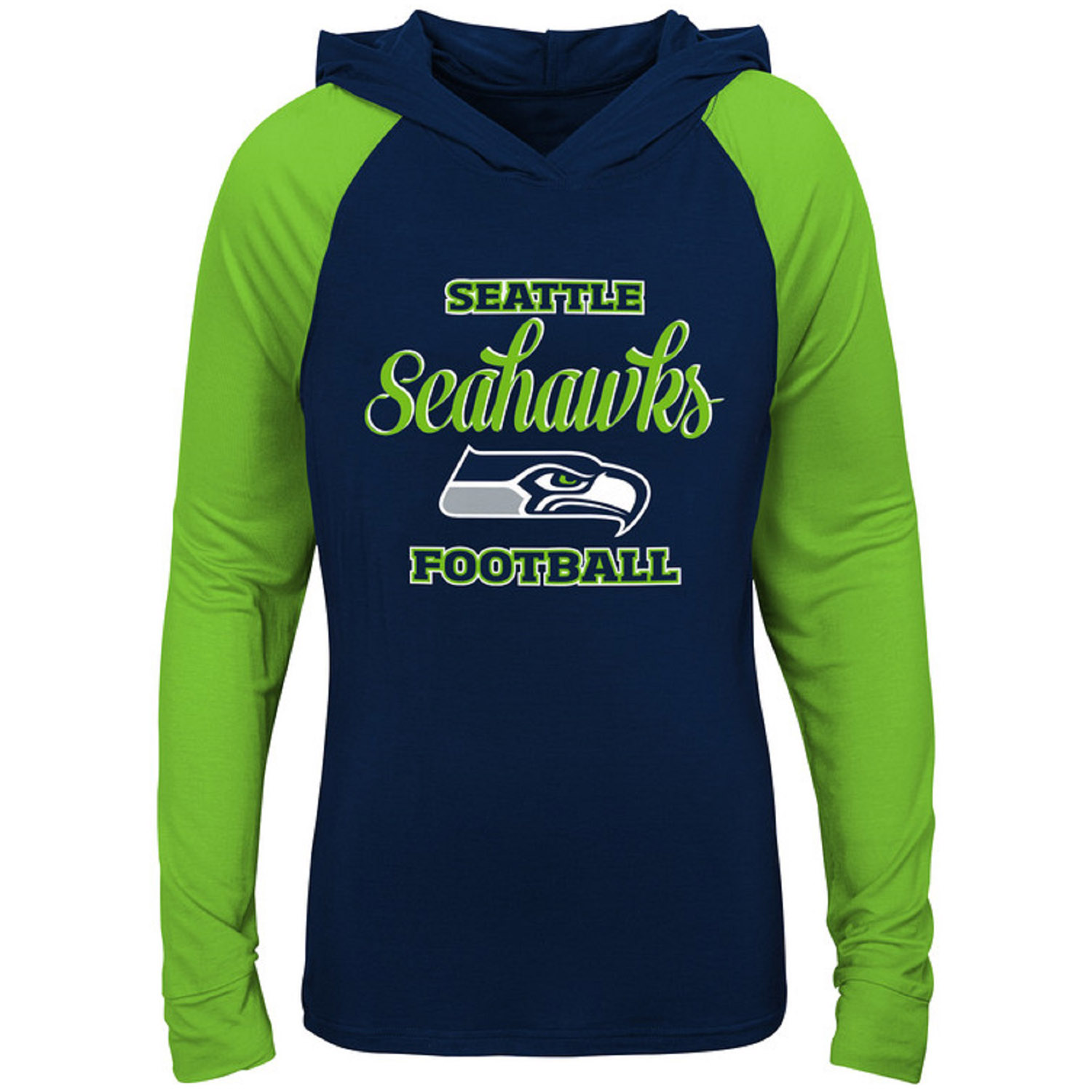Girls Youth College Navy/Neon Green Seattle Seahawks Hooded Long Sleeve T-Shirt