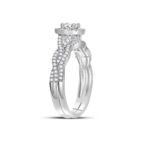14kt White Gold Womens Round Diamond Twist Bridal Wedding Engagement Ring Band Set 5/8 Cttw - image 1 of 4