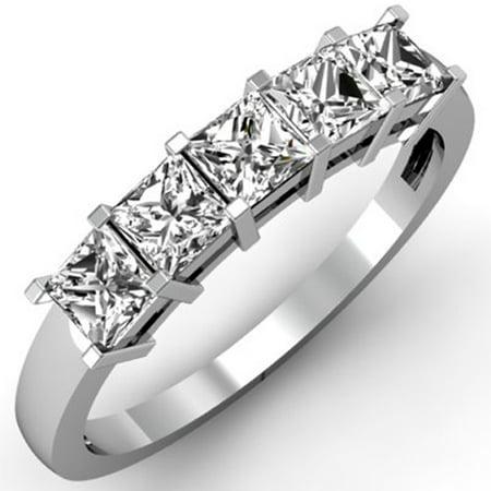 1.00 Carat (ctw) 10k White Gold Princess Cut White Diamond Ladies 5 Stone Bridal Wedding Band Anniversary Ring 1 (5 Stone Diamond Wedding Band)