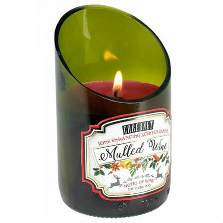 BESTChoiceForYou Mulled Cabernet Scented Candle Wine Bottle Green Glass Holiday 40 Hr Burn Time Home (Best Bottled Mulled Wine)