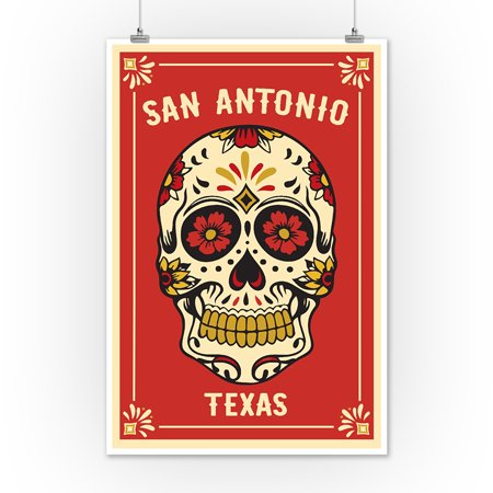San Antonio, Texas - Day of the Dead - Sugar Skull & Flower Pattern - Lantern Press Artwork (12x18 Art Print, Wall Decor Travel Poster)](Day Of The Dead Flower)