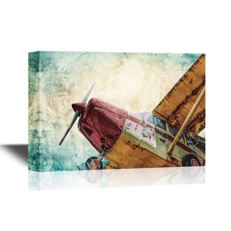wall26 Canvas Wall Art - Vintage Airplane Seen from Below - Gallery Wrap Modern Home Decor | Ready to Hang - 24x36 (Airplane Home Decor)