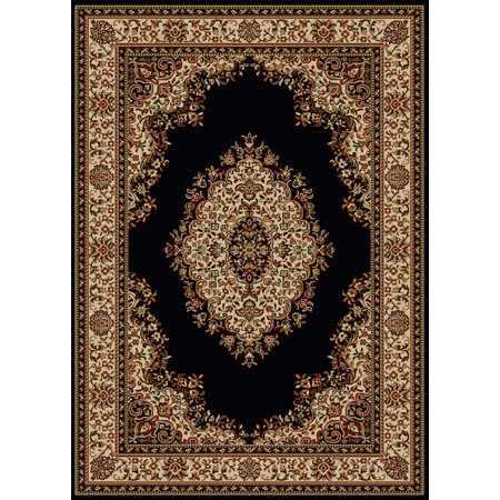 - Vitaly Rafiqi Area Rugs - 1595 Traditional Oriental Black Italian Bordered Medallion Floral Rug