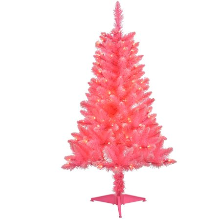 4 Pre Lit Pink Tinsel Artificial Christmas Tree Clear Lights