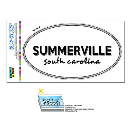 Summerville, SC - South Carolina - Black and White - City State - Oval Laminated Sticker for $<!---->