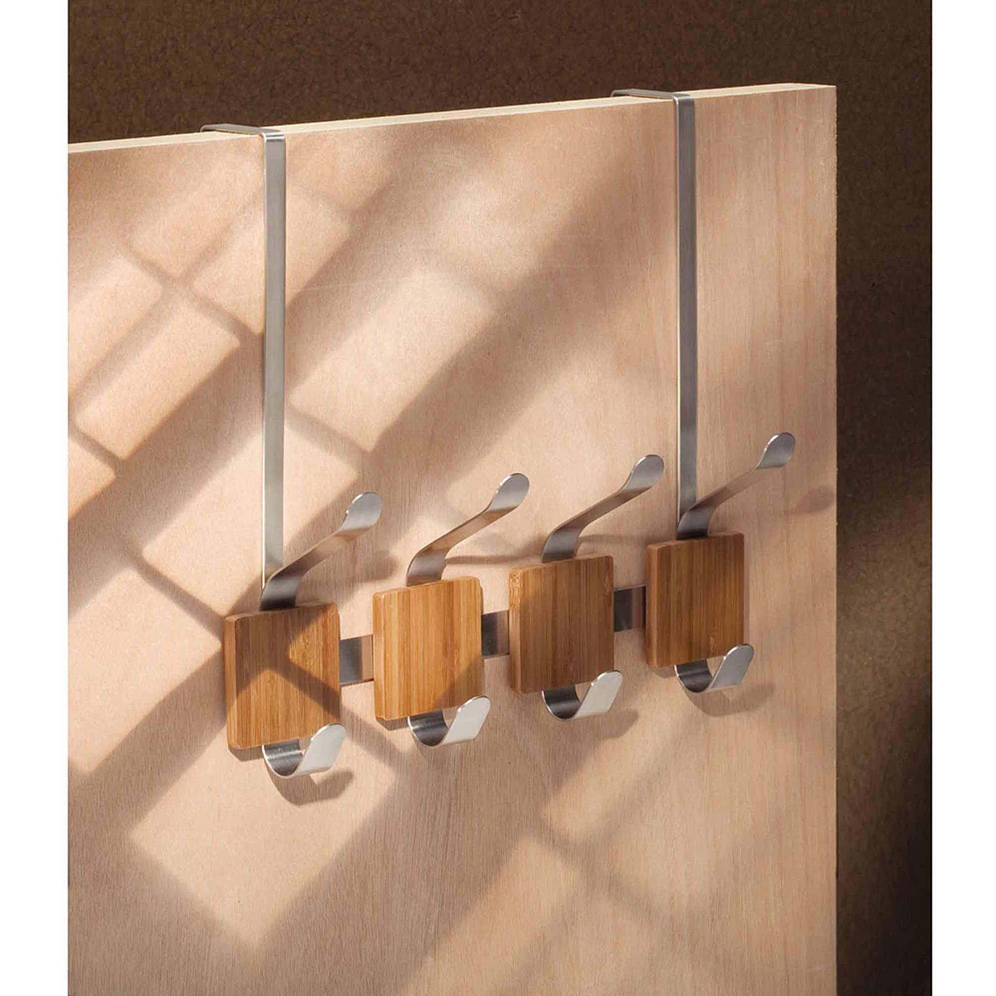 InterDesign Formbu Over-The-Door 4-Hook Rack, Brushed Stainless Steel