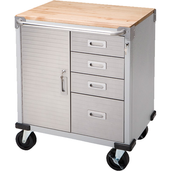 Seville Classics UltraHD 4-Drawer Rolling Storage Cabinet with Key Lock
