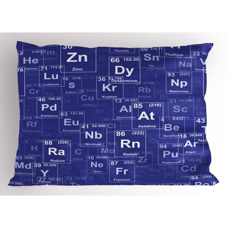 Periodic Table Pillow Sham Chemistry Elements In Abstract Style Science Classroom Backdrop  Decorative Standard Size Printed Pillowcase  26 X 20 Inches  Royal Blue And White  By Ambesonne