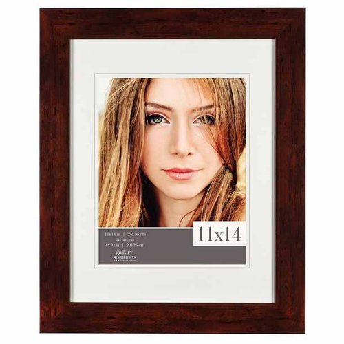 Gallery Solutions 11x14 Walnut Wall Frame with Double Mat For 8x10 IMage by Pinnacle Frames and Accents