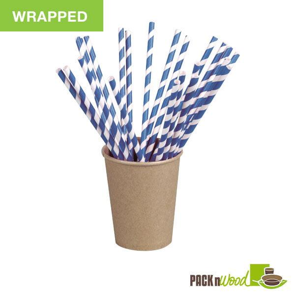"Pack n' Wood 210CHP21BLUW, 8.3""x0.2"", Blue Striped Wax Coated Paper Straws Wrapped, 500/PK"