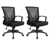Deals on 2Pc Walnew Office Chair Two Pieces of Mid Back Swivel Lumbar