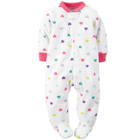 ec5aee51f Carters Infant   Toddler Girls Plush Heart Footed Sleeper Sleep ...