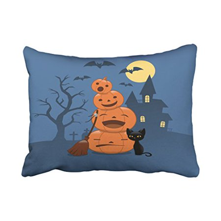 WinHome Decorative Pillowcases Halloween Pumpkins And Black Cat Outdoor Throw Pillow Covers Cases Cushion Cover Case Sofa 20x30 Inches Two Side (Halloween Pumpkins Black Cat)