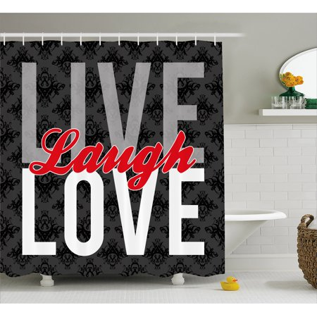 Live Laugh Love Decor Shower Curtain  Different Typed Words Of Wisdom Victorian Antique Damask Motifs Tile  Fabric Bathroom Set With Hooks  69W X 70L Inches  Multicolor  By Ambesonne