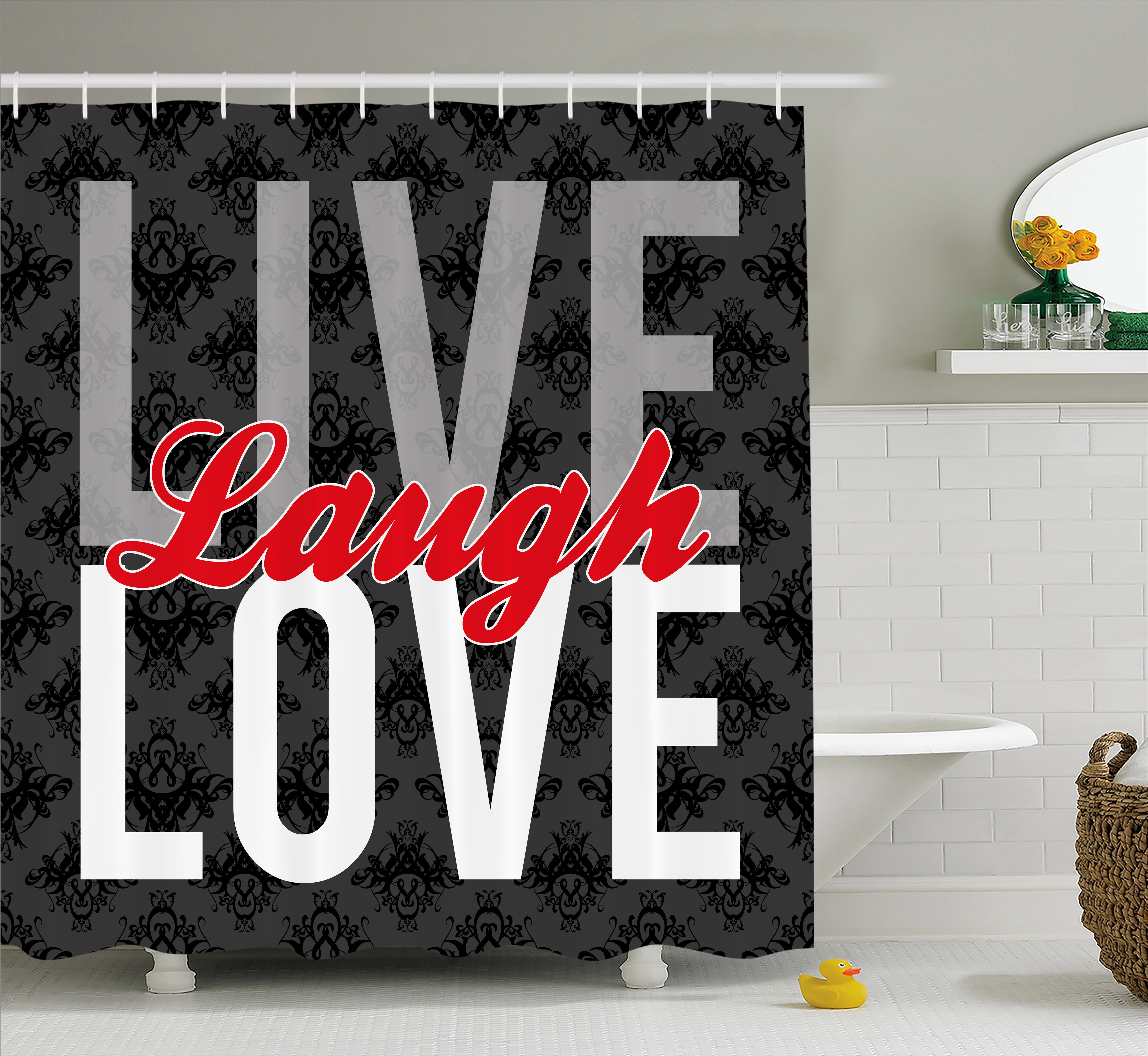 Live Laugh Love Decor Shower Curtain, Different Typed Words of Wisdom Victorian Antique Damask Motifs Tile, Fabric Bathroom Set with Hooks, 69W X 70L Inches, Multicolor, by Ambesonne