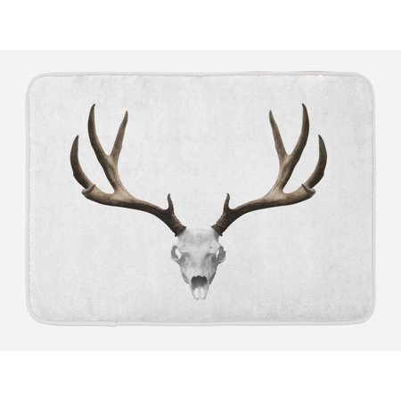 Antlers Bath Mat, A Deer Skull Skeleton Head Bone Halloween Weathered Hunter Collection, Non-Slip Plush Mat Bathroom Kitchen Laundry Room Decor, 29.5 X 17.5 Inches, Warm Taupe Pale Grey, - Hunter Skeleton