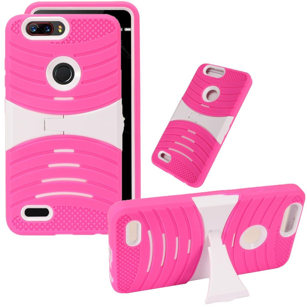 For ZTE Blade Z Max (MetroPCS) / ZTE ZMax Pro 2 / ZTE Grand X Max 4 / ZTE Sequoia Case Symbiosis Armor Hybrid Silicone Phone Cover w/ Curve Stand Combo Pack (White/Pink)