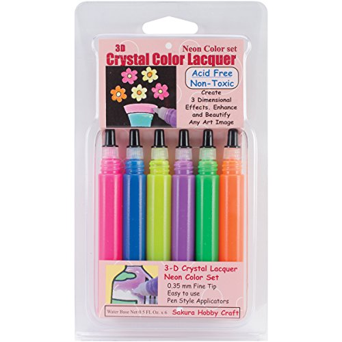 Sakura Hobby Craft 3D Crystal Lacquer Color Pens, 5-Ounce, Neon, 6-Pack Multi-Colored