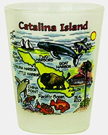Catalina Island California Frosted Map Design Shot Glass by World By Shotglass