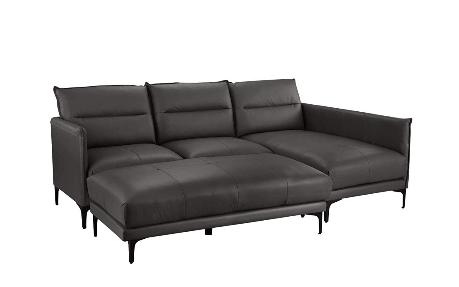 Pleasant Mid Century Leather Sectional Sofa L Shape Couch With Rectangular Ottoman Black Machost Co Dining Chair Design Ideas Machostcouk