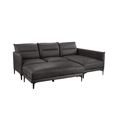 Mid Century Leather Sectional Sofa L Shape Couch With