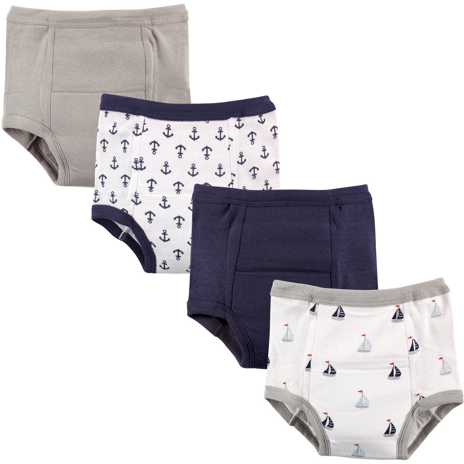 Luvable Friends Baby Boy and Girl Training Pants, 4-Pack - 12-18M - Anchors