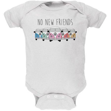 Hippie Van No New Friends Bus Camper Soft Baby One Piece - Hippie Babe