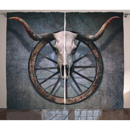 Panel Wagon - Barn Wood Wagon Wheel Curtains 2 Panels Set, Wild West Themed Design with Bull Skull on Cart Wheel Scratched Wall, Window Drapes for Living Room Bedroom, 108W X 96L Inches, Multicolor, by Ambesonne