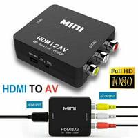 Mini 1080P Composite AV CVBS Adapter Converter HDMI to RCA Audio Video - Black