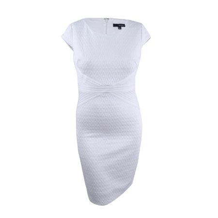 Sangria Women's Cap-Sleeve Textured Sheath Dress (16, White) (White Sangria Easy)