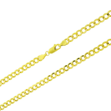 14k Yellow Gold Solid 5mm Cuban Curb Link Chain Pendant Necklace, 16