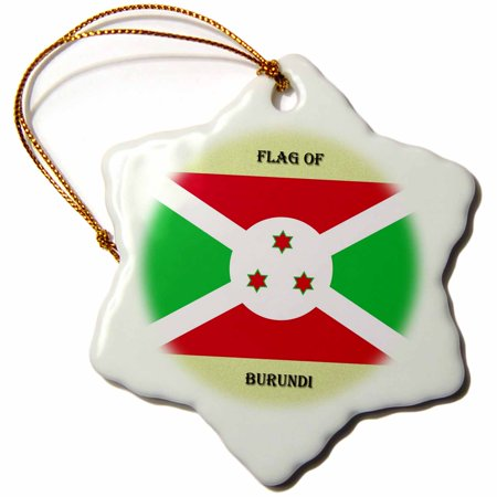 3dRose Flag of Burundi, Snowflake Ornament, Porcelain, 3-inch