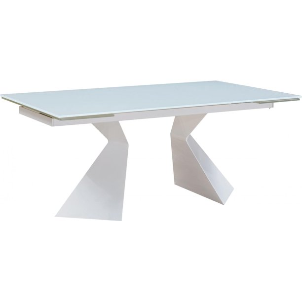 White Extendable Glass Dining Table Contemporary Modern Made In Italy Esf 992 Dt Walmart Com Walmart Com
