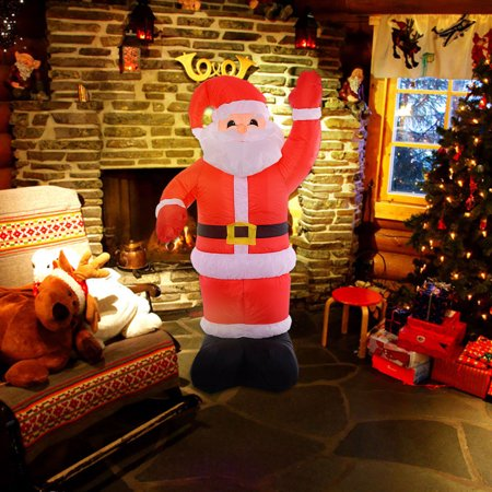 costway 8ft airblown inflatable christmas xmas santa claus decoration lawn yard outdoor. Black Bedroom Furniture Sets. Home Design Ideas