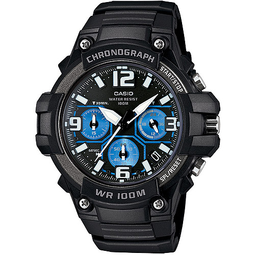 Casio Men's Rugged Chronograph Watch, Black/Blue