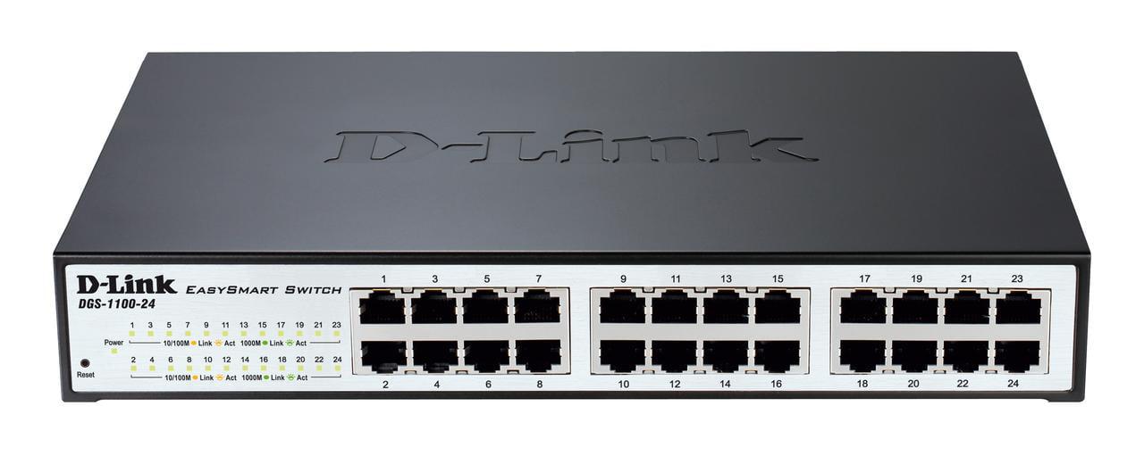 DGS-1100-24 D-Link Ethernet Switch 24 Port Gigabit Easy Smart Managed Network Internet Desktop or Rack Mountable