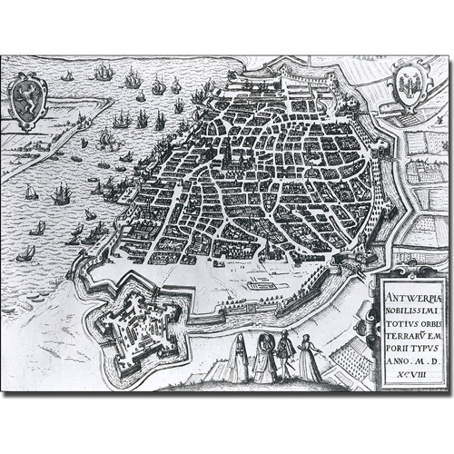 Trademark Art 'Map of Antwerp, 1598' Canvas Art