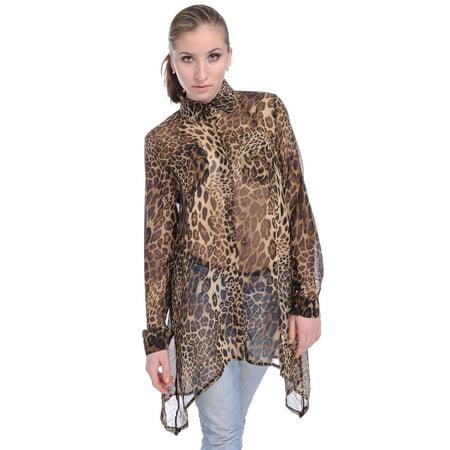 Womens Asymmetrical Sheer Brown Leopard Cheetah Print Long Sleeve Top](Chetta Print)