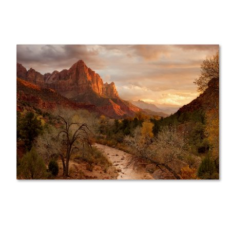 Trademark Fine Art 'Zion Watchmen Sunset' Canvas Art by Mike Jones (Photo Canvas Cover)