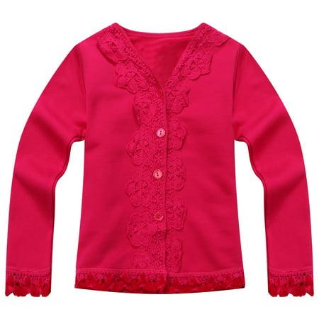 Richie House Little Girls Pink Lace Detail Sweet Cardigan 3 - Walmart.com 0e5df45b8