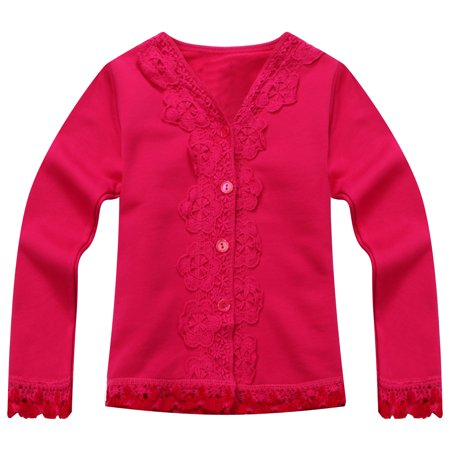 Richie House Girls' Sweet Cardigan with Lace RH1103