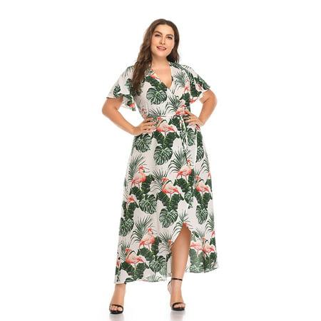 Kenancy Womens Plus Size Boho Flamingo Print Flare Sleeve Tulip (Tulip Sleeve Dress)